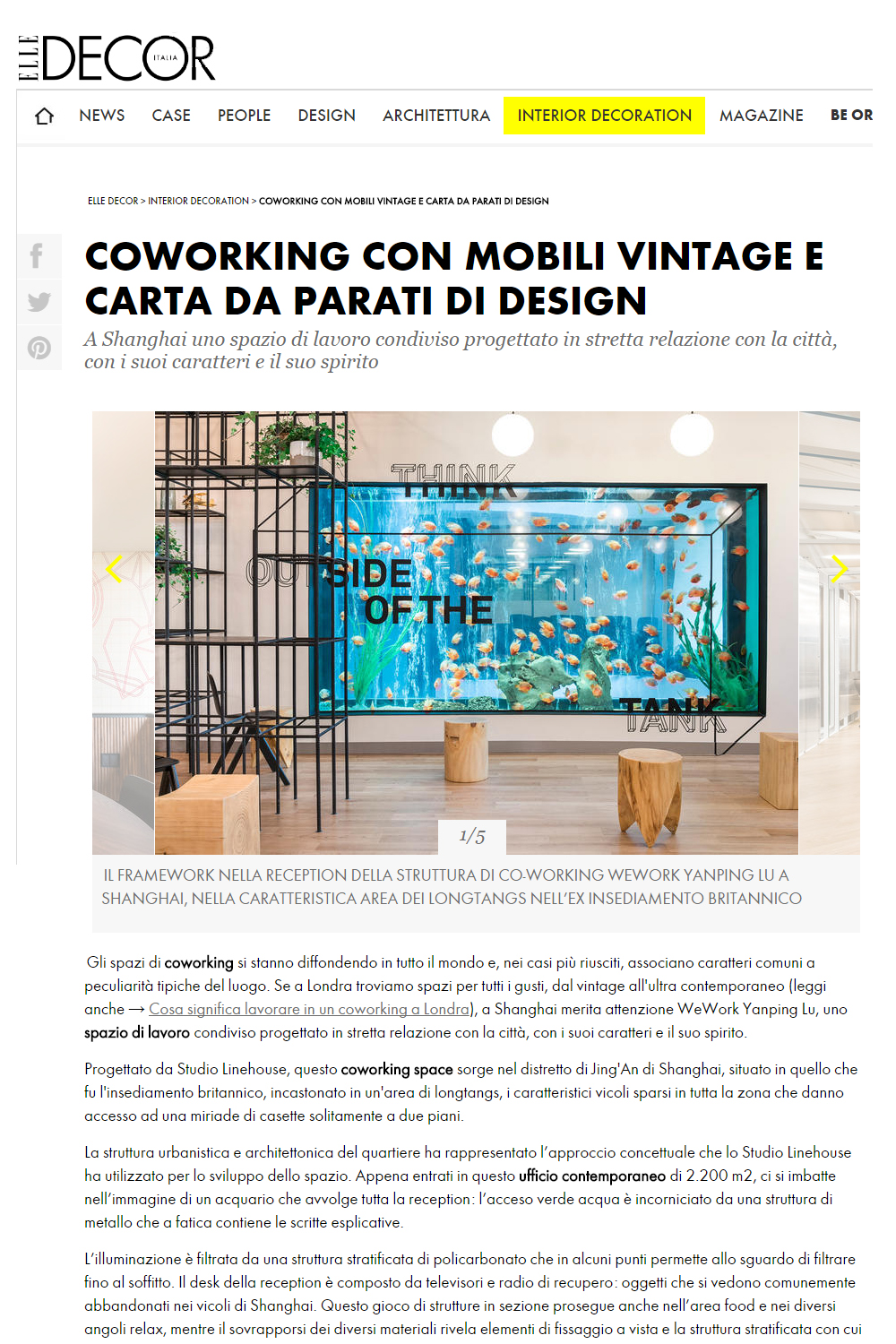 Elle Decor Italia, WeWork, November 2016