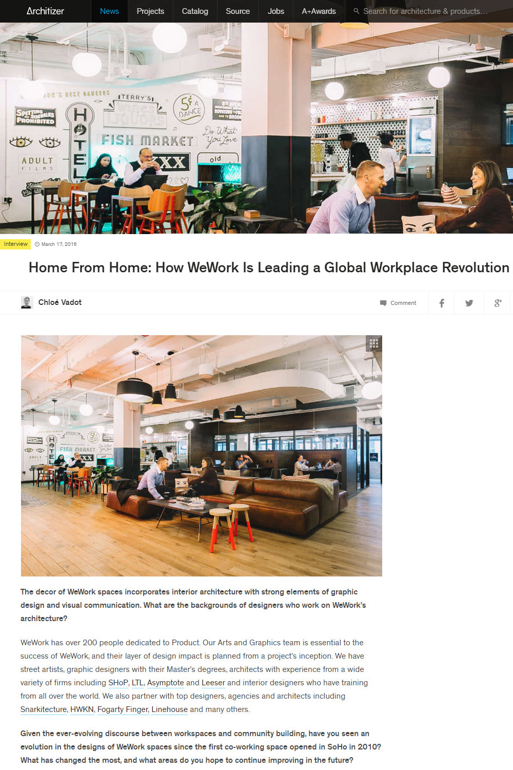 Architizer, Wework, March 2016