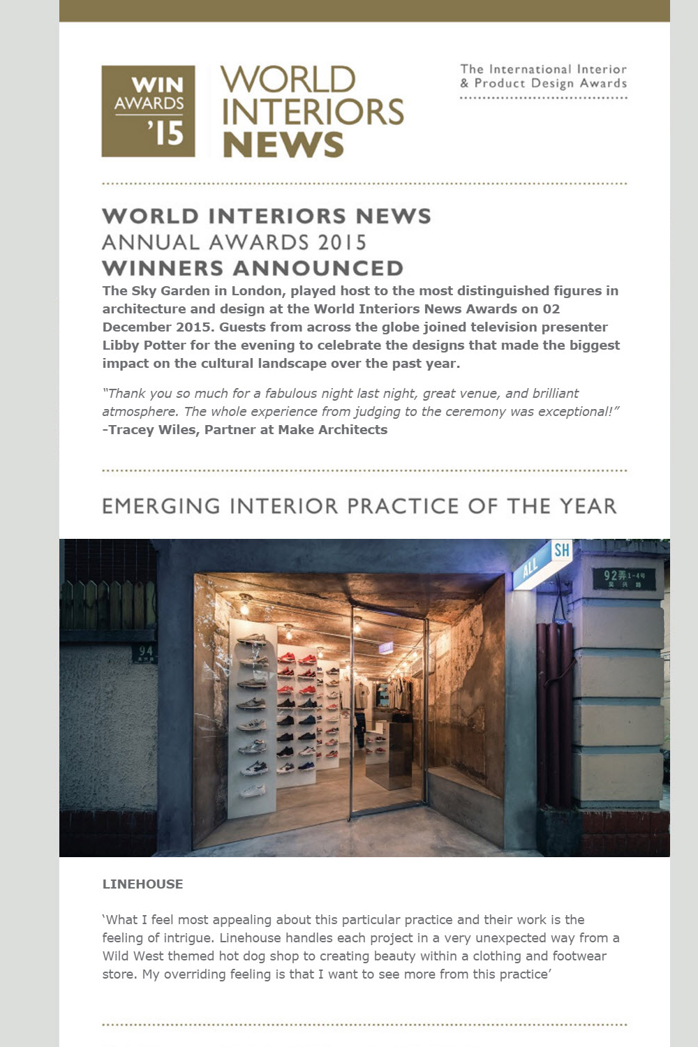 World Interior News, Linehouse, Nov 2015